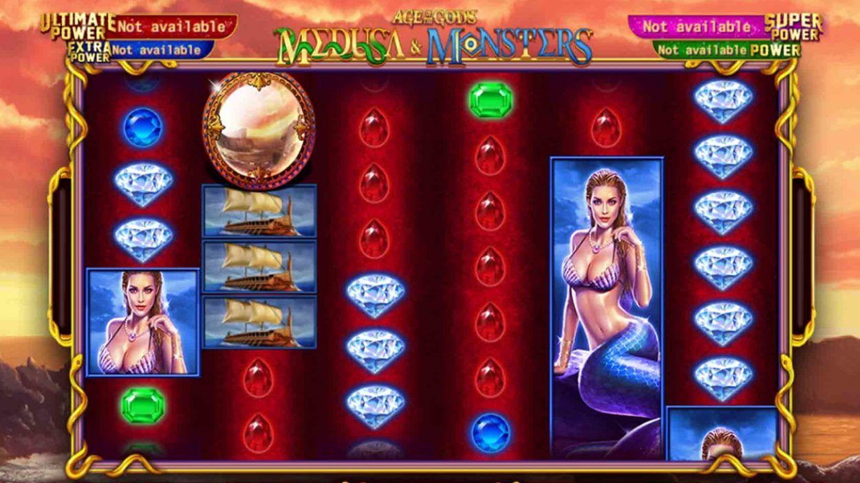 Title screen for Age Of The Gods Medusa And Monsters Slots Game