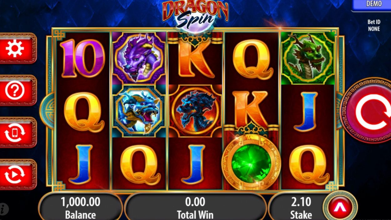 Title screen for Dragon Spin slot game