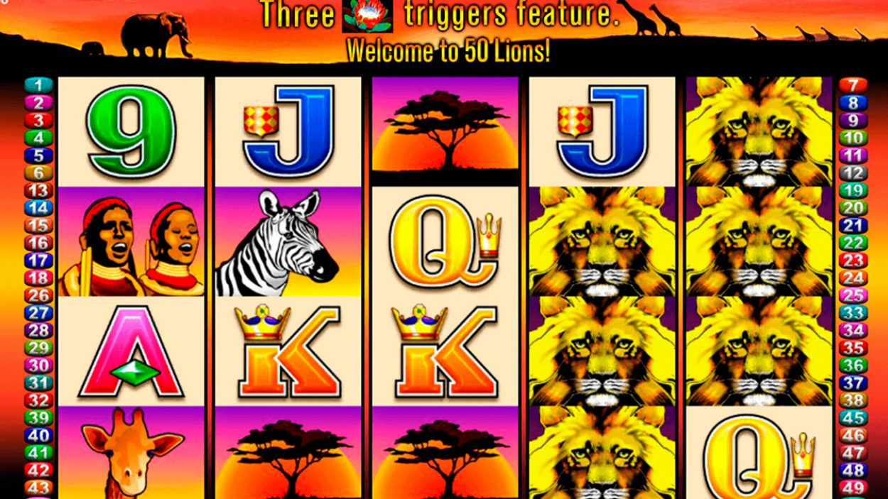 Title screen for 50 Lion Slot Game