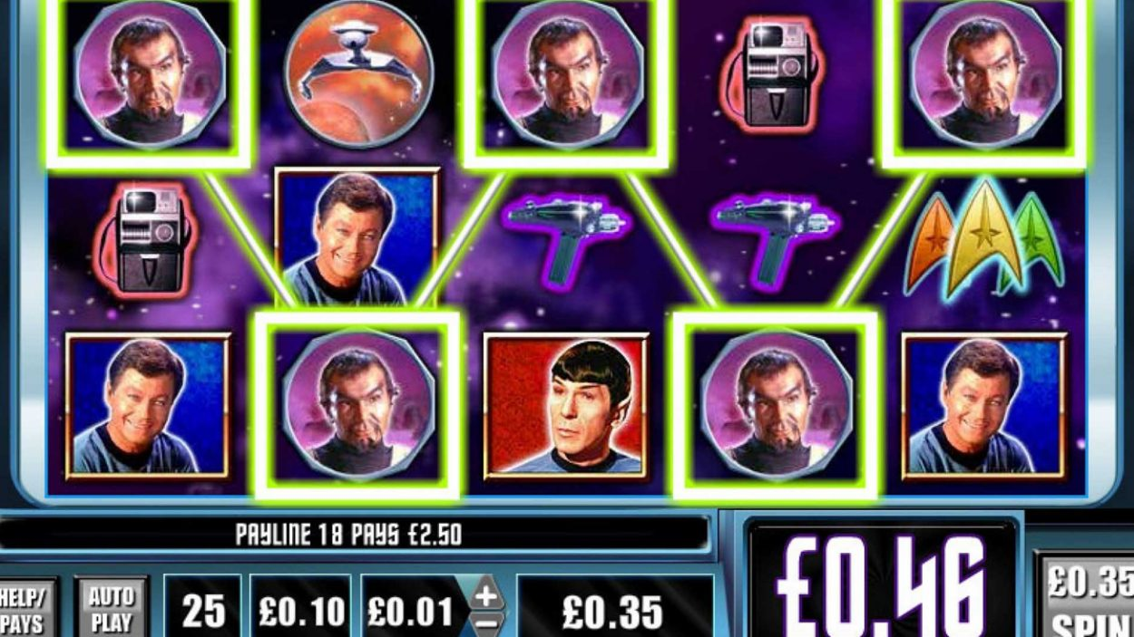 Title screen for Star Trek Red Alert Slots Game