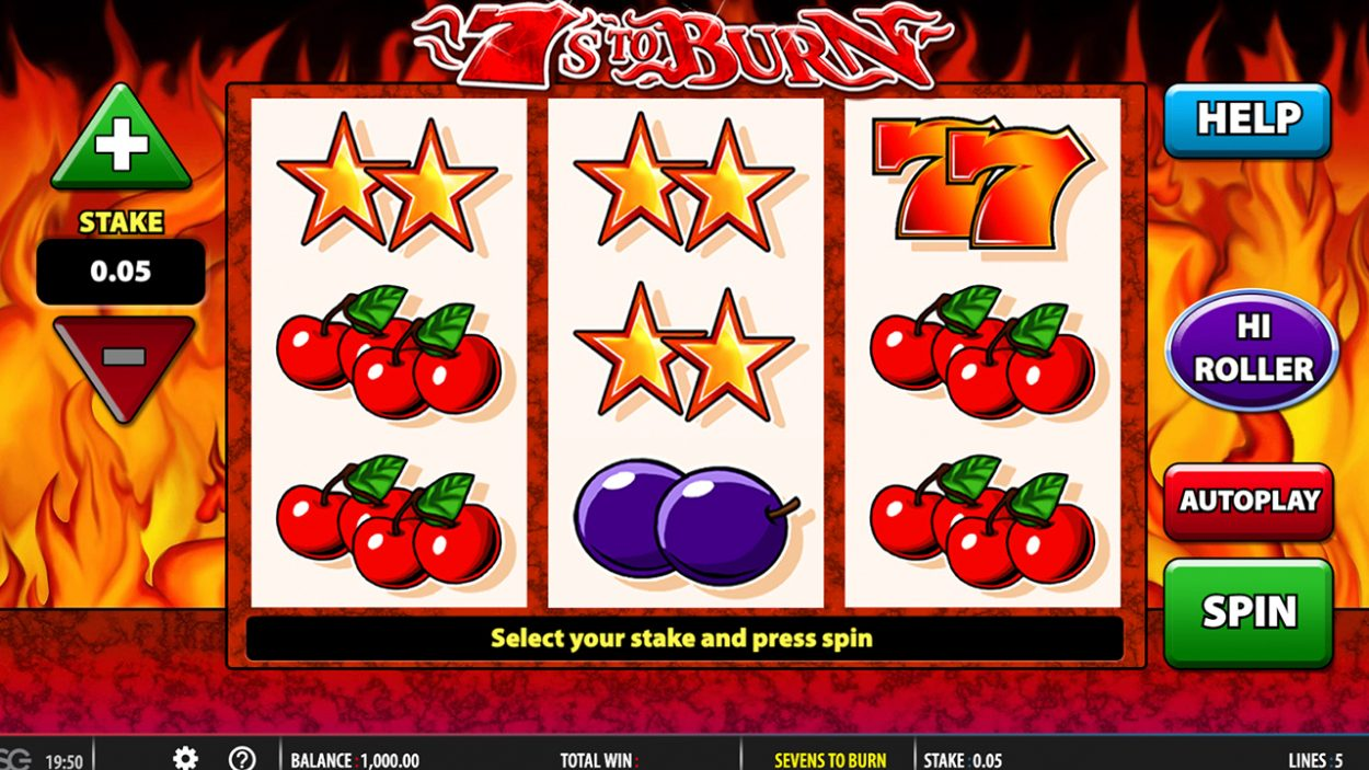 Title screen for 7s to Burn slot game