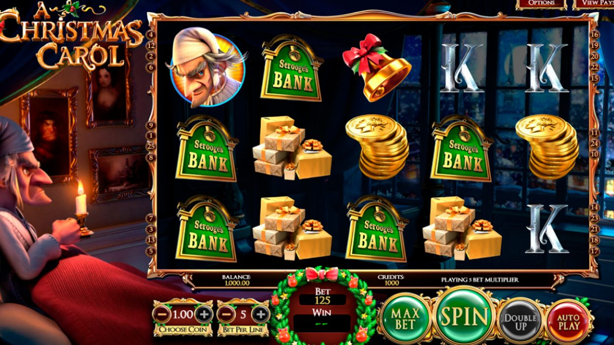 Title screen for A Christmas Carol slot game