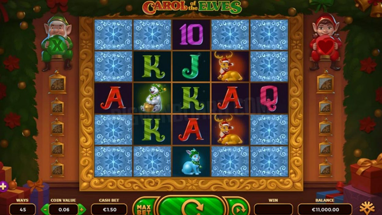 Title screen for Carol of the Elves slot game
