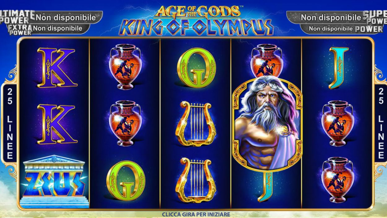 Title screen for Age Of The Gods King Of Olympus Slots Game
