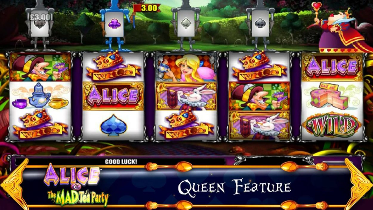 Title screen for Alice and the Mad Tea Party slot game