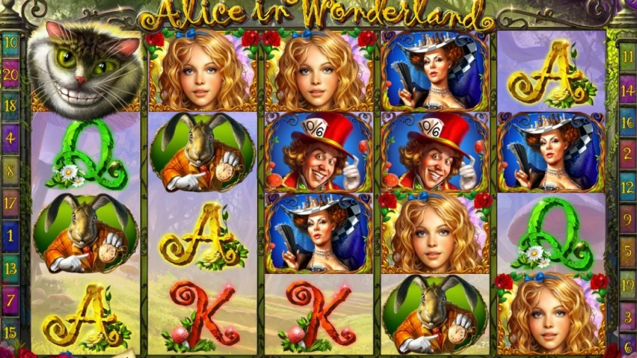 Title screen for Alice In Wonderland Slots Game