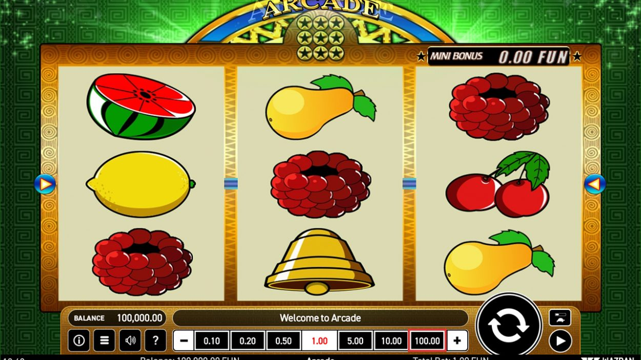 Title screen for Arcade slot game