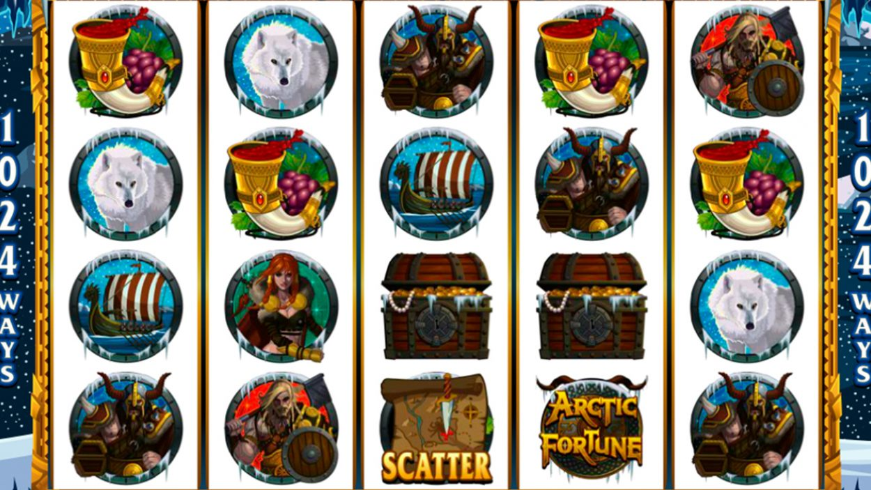 Title screen for Arctic Fortune Slots Game