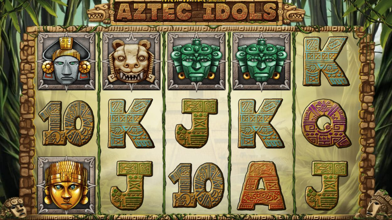 Title screen for Aztec Idols Slots Game