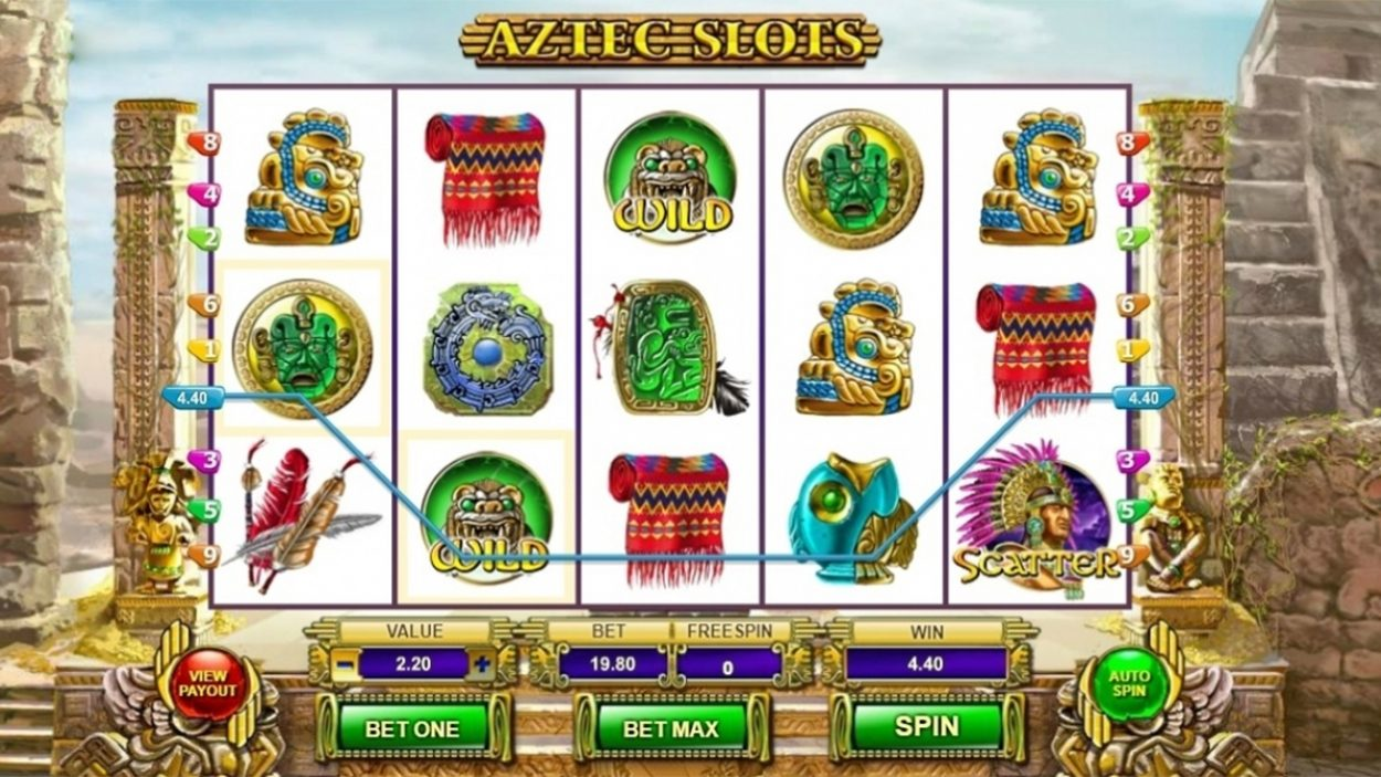 Title screen for Aztec Slots game