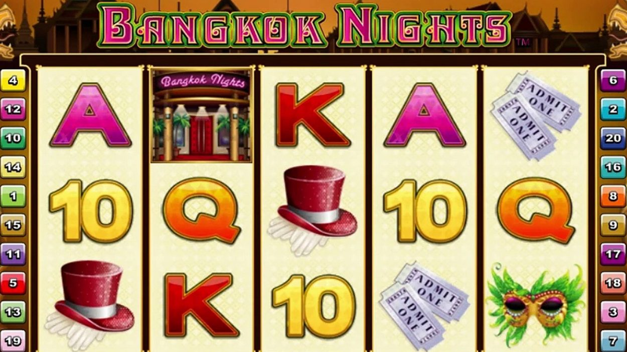 Title screen for Bangkok Nights Slots Game