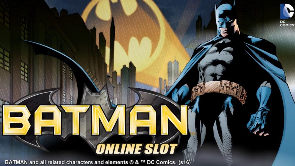Title screen for Batman Slots Game