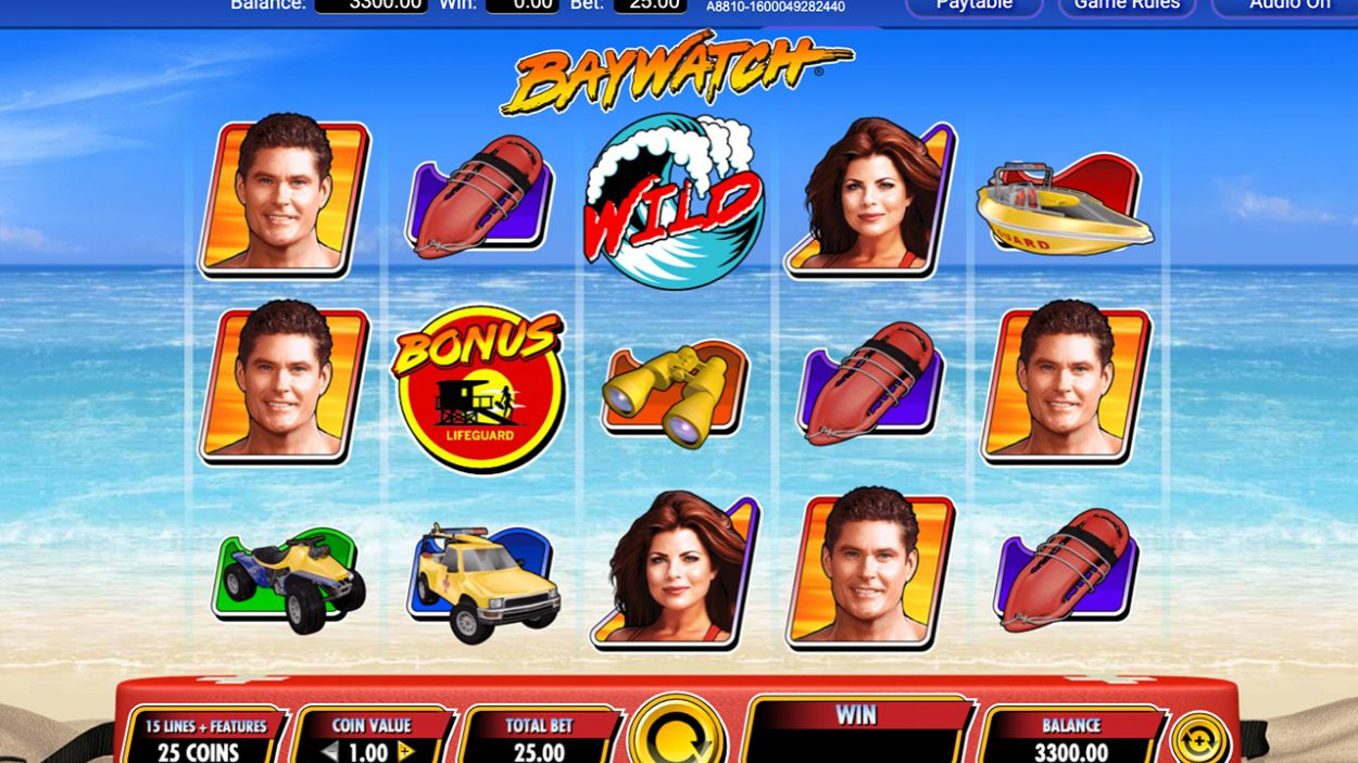 Title screen for Baywatch slot game