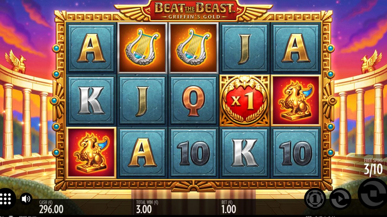 Title screen for Beat the Beast: Griffin's Gold slot game