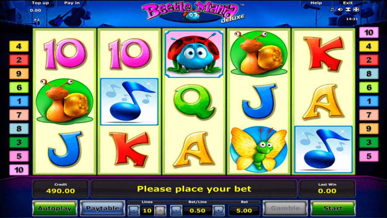 Title screen for Beetle Mania Deluxe slot game