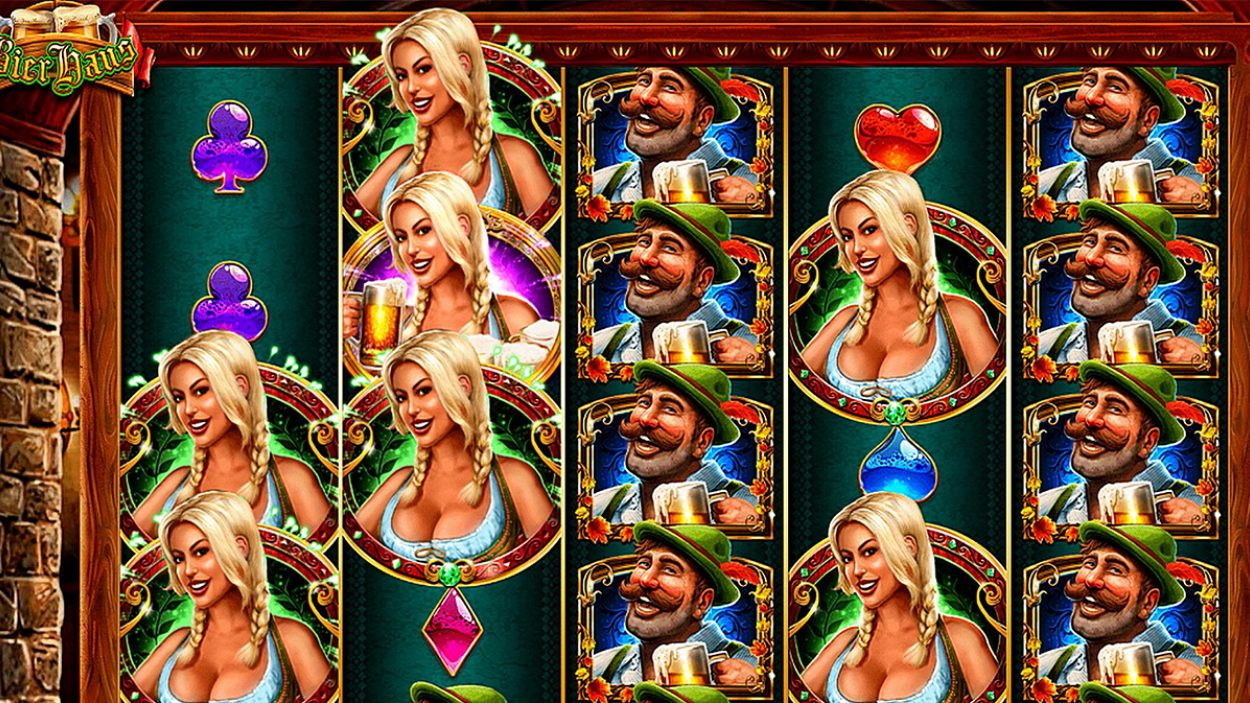 Title screen for Bier Haus Slots Game