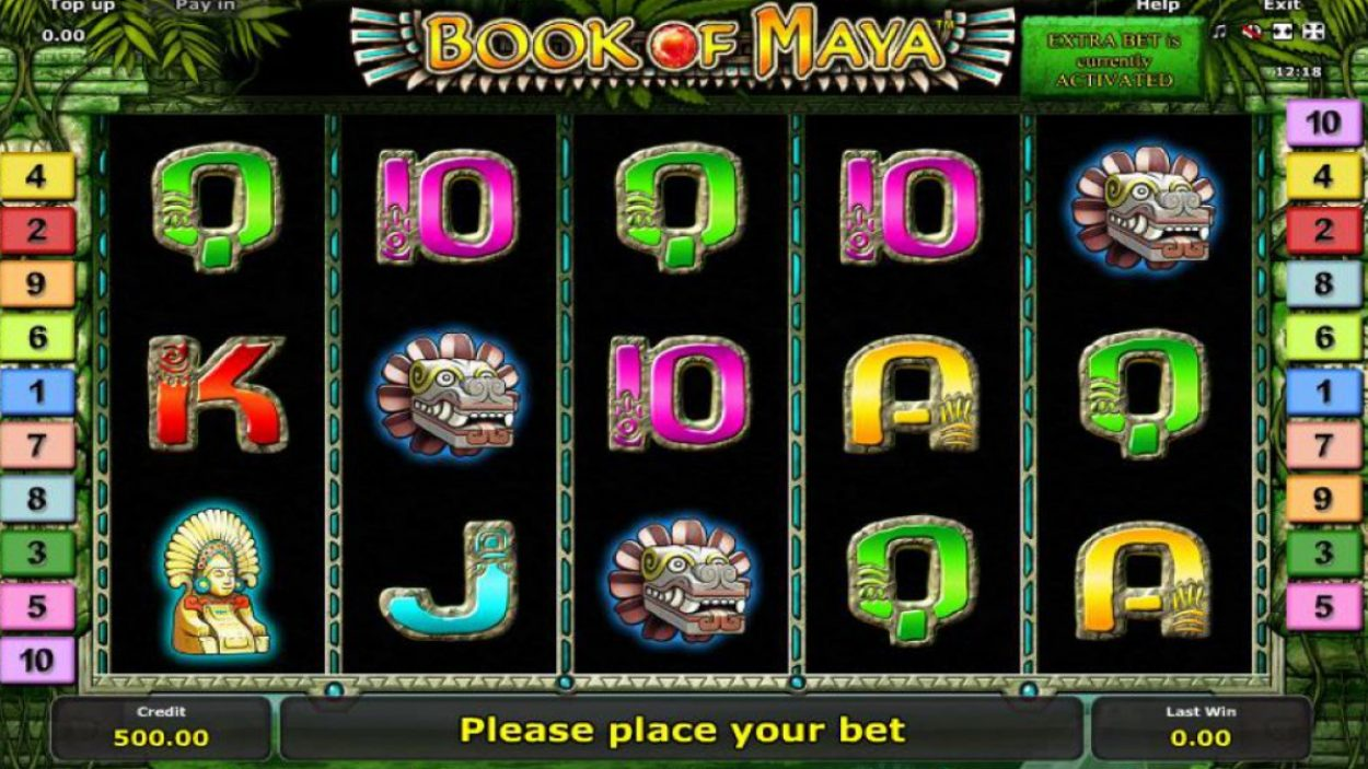 Title screen for Book of Maya slot game