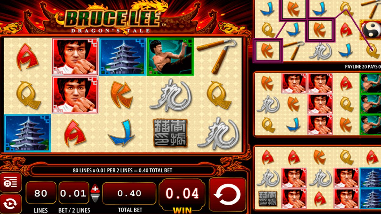 Title screen for Bruce Lee Dragon's Tale Slots Game