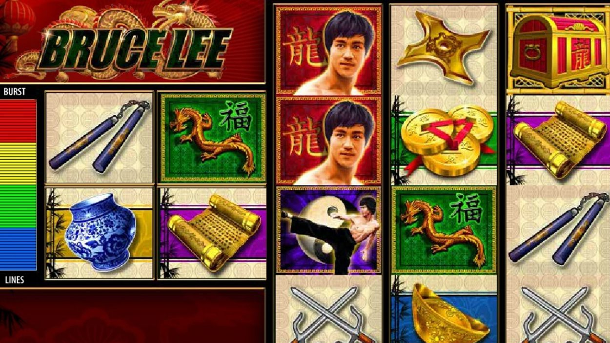 Title screen for Bruce Lee Slots Game
