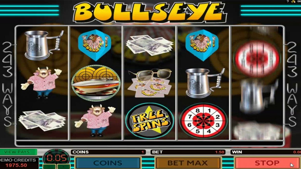 Title screen for Bullseye Slots Game