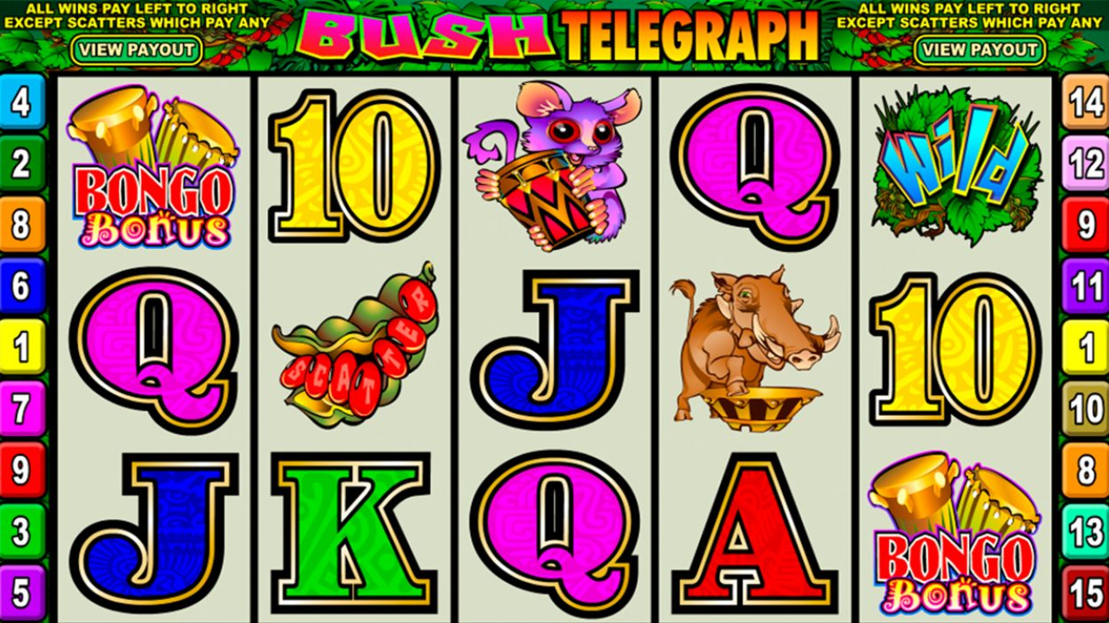 Title screen for Bush Telegraph slot game