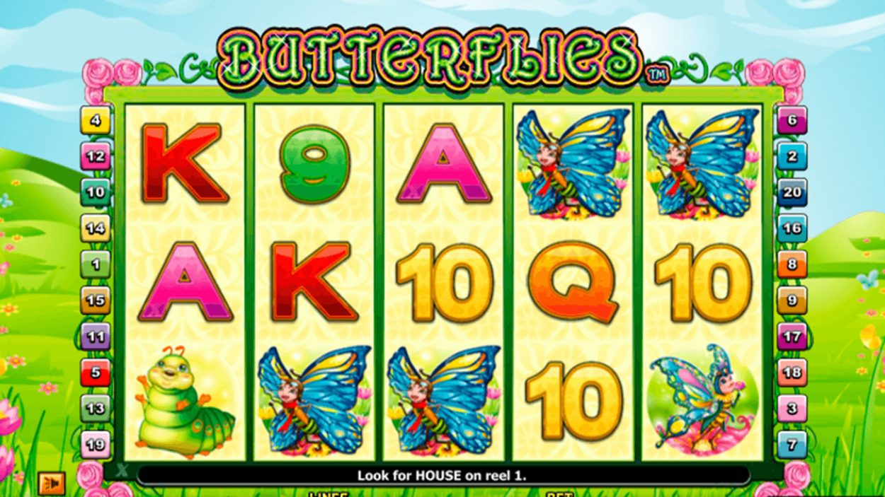 Title screen for Butterflies slot game