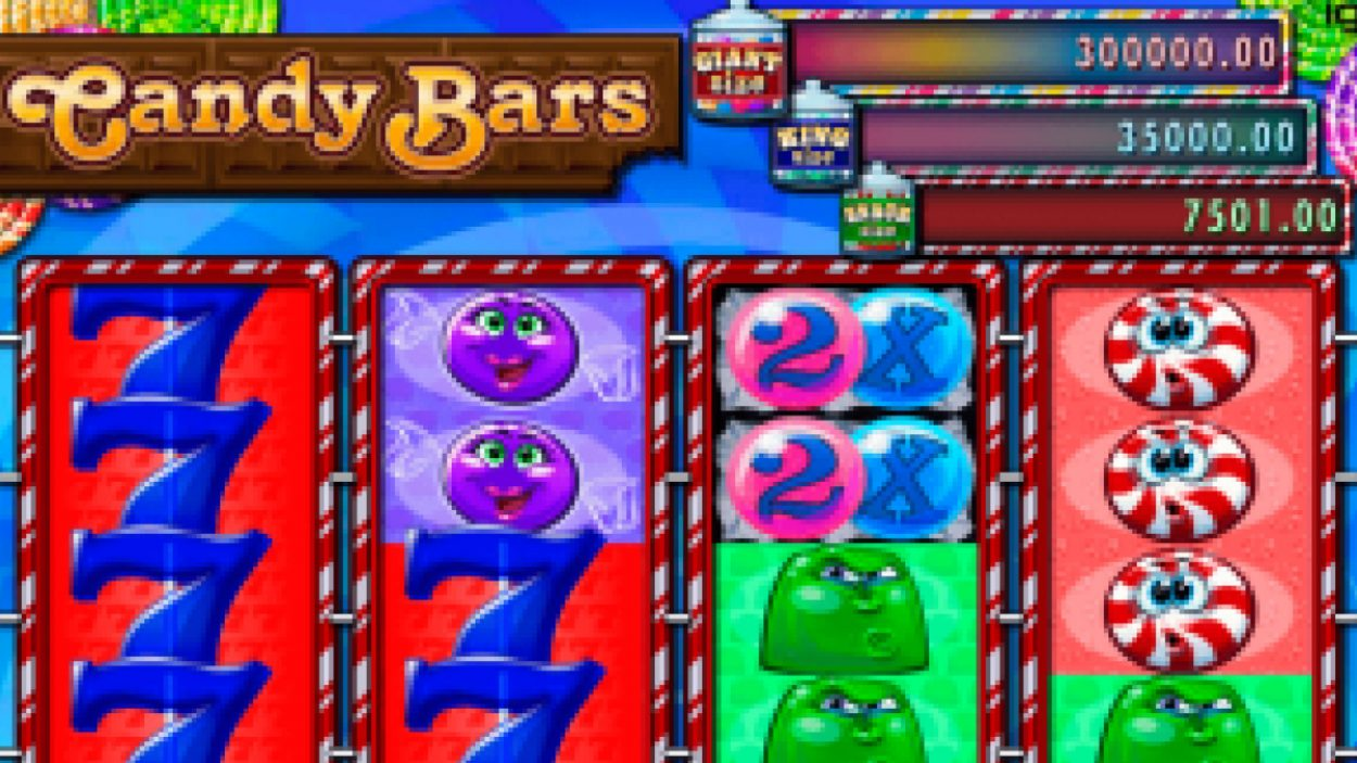 Title screen for Candy Bars Slots Game