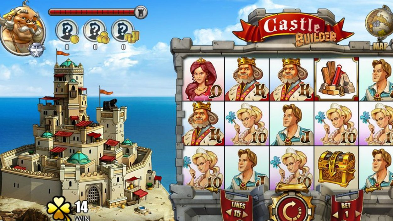 Title screen for Castle Builder Slots Game
