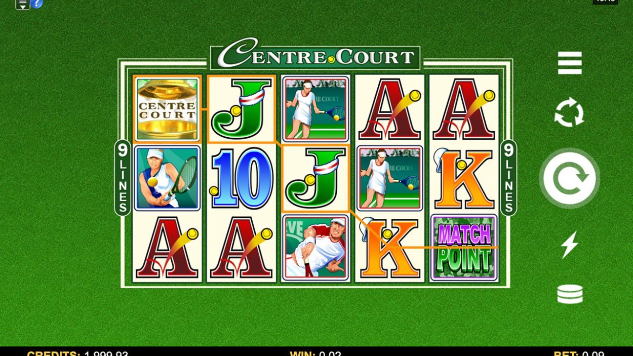 Title screen for Centre Court slot game
