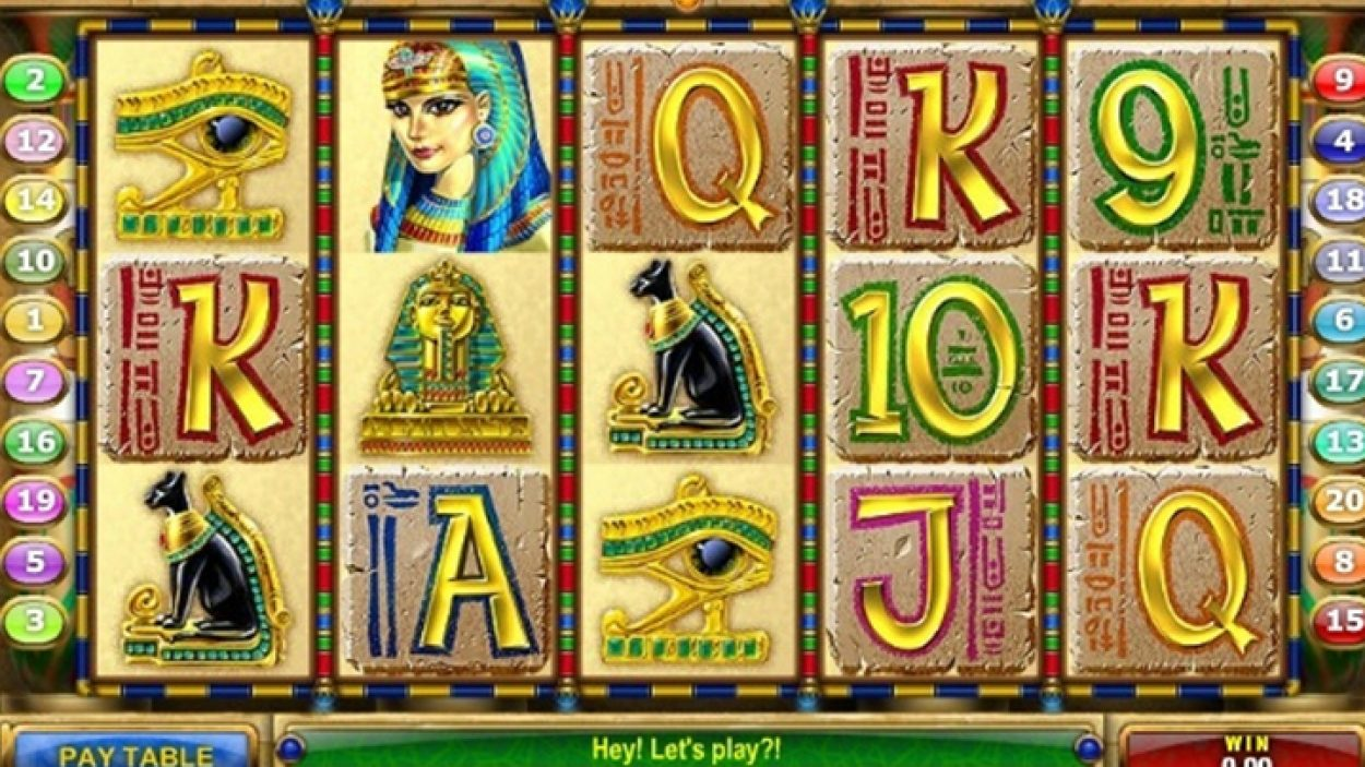 Title screen for Cleopatra Treasure Slots Game