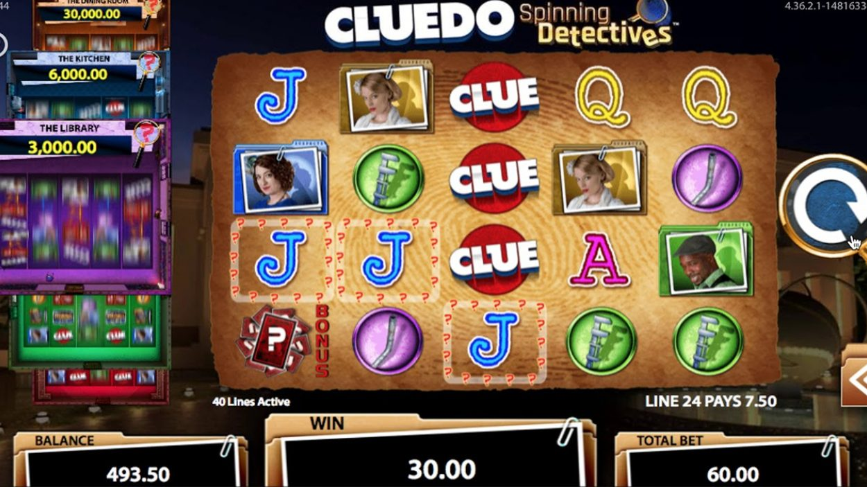 Title screen for Clue Slots Game