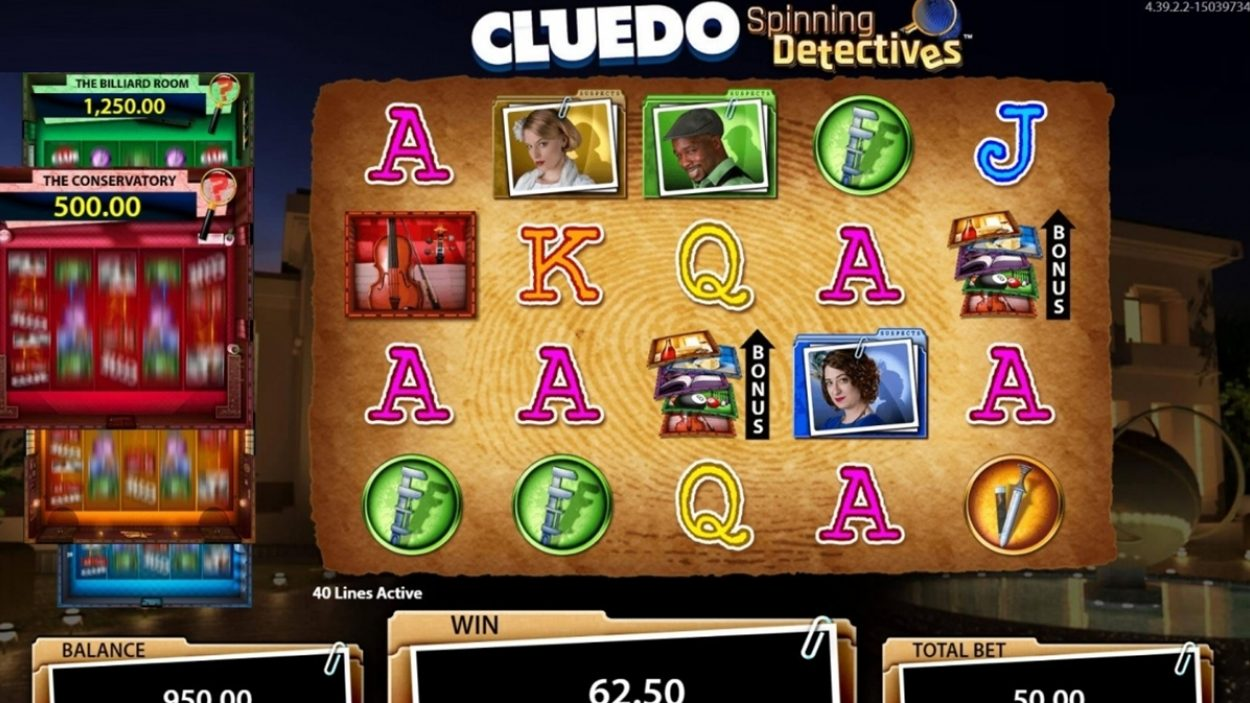 Title screen for Cluedo Spinning Detectives Slots Game