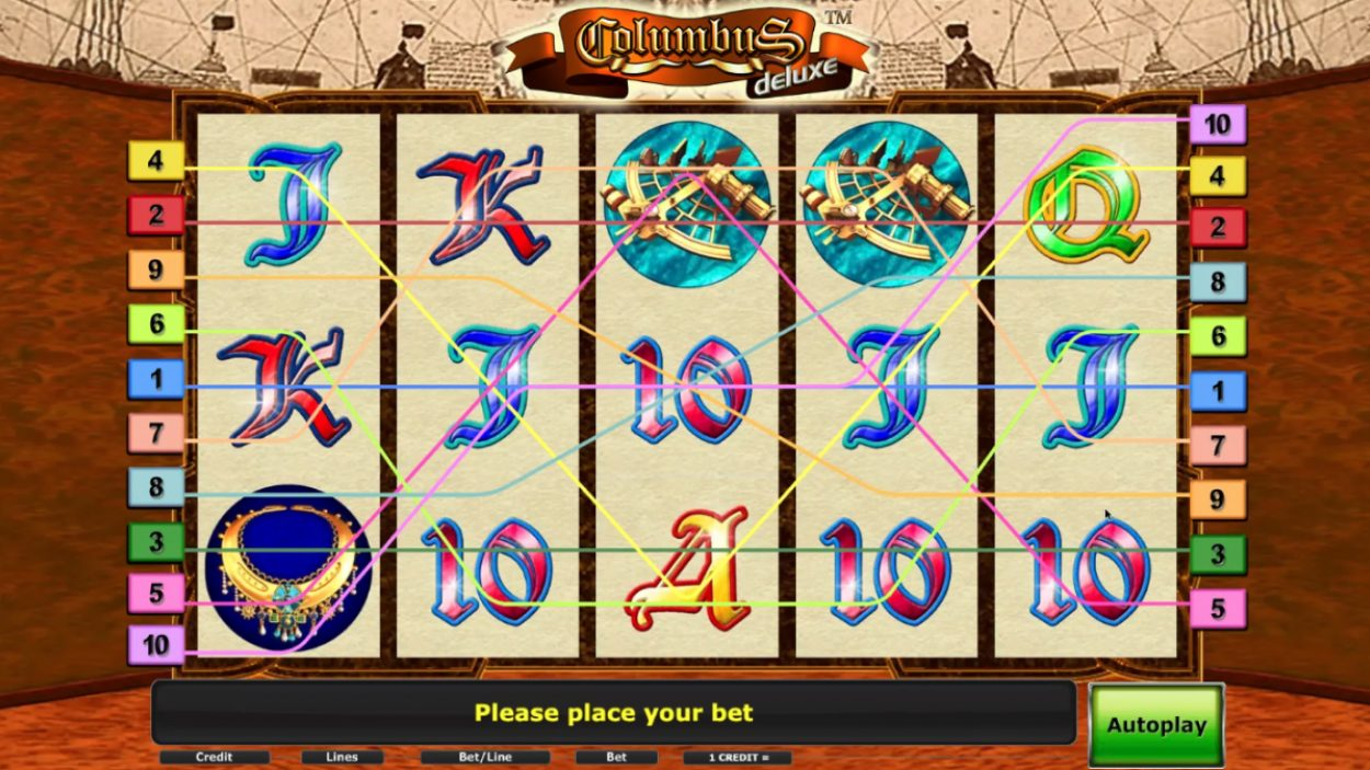 Title screen for Columbus slot game