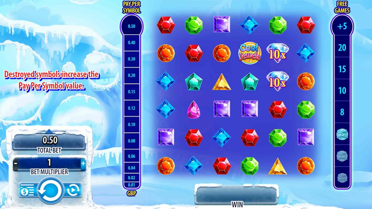 Title screen for Cool Jewels Slots Game