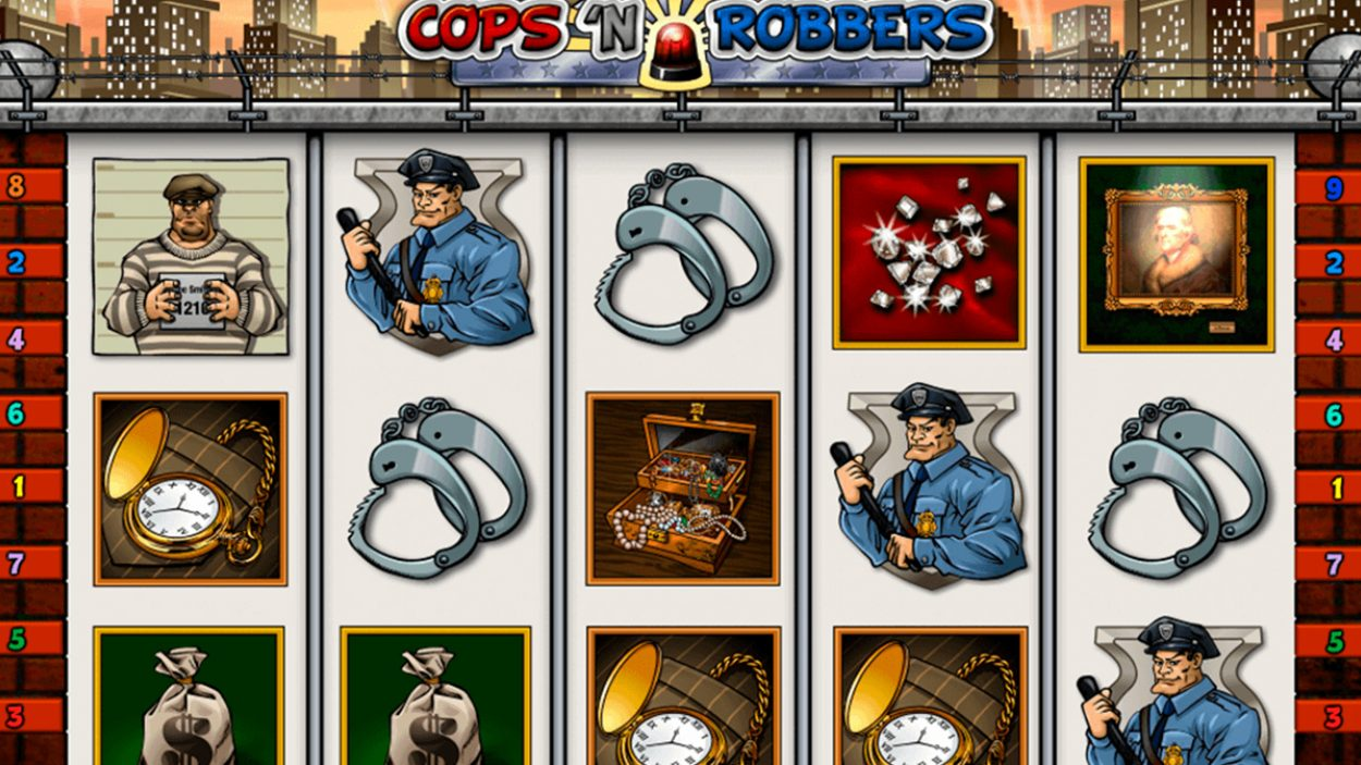 Title screen for Cops N Robbers Slots Game