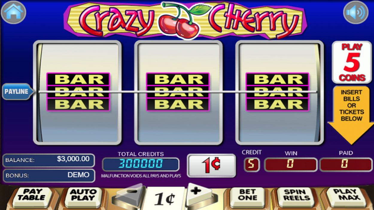 Title screen for Crazy Cherry Slots Game