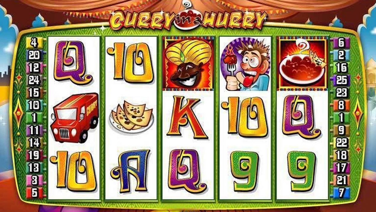 Title screen for Curry in a Hurry slot game