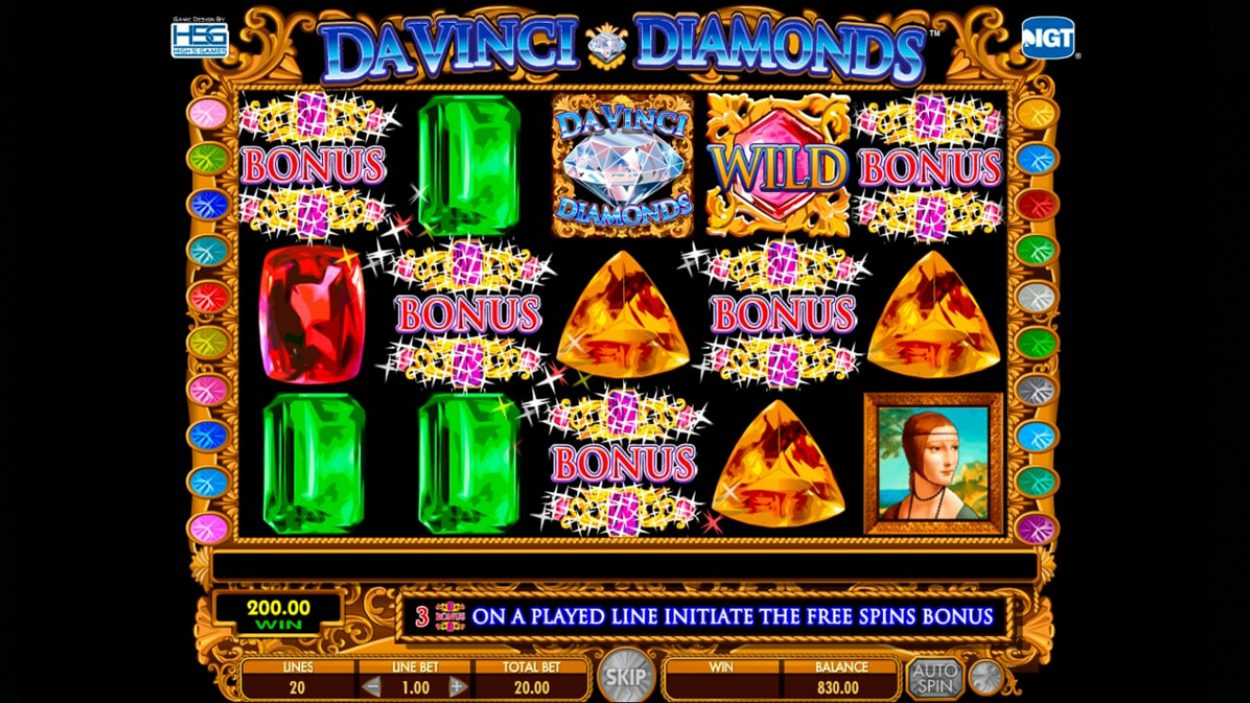 Title screen for Da Vinci Diamonds slot game
