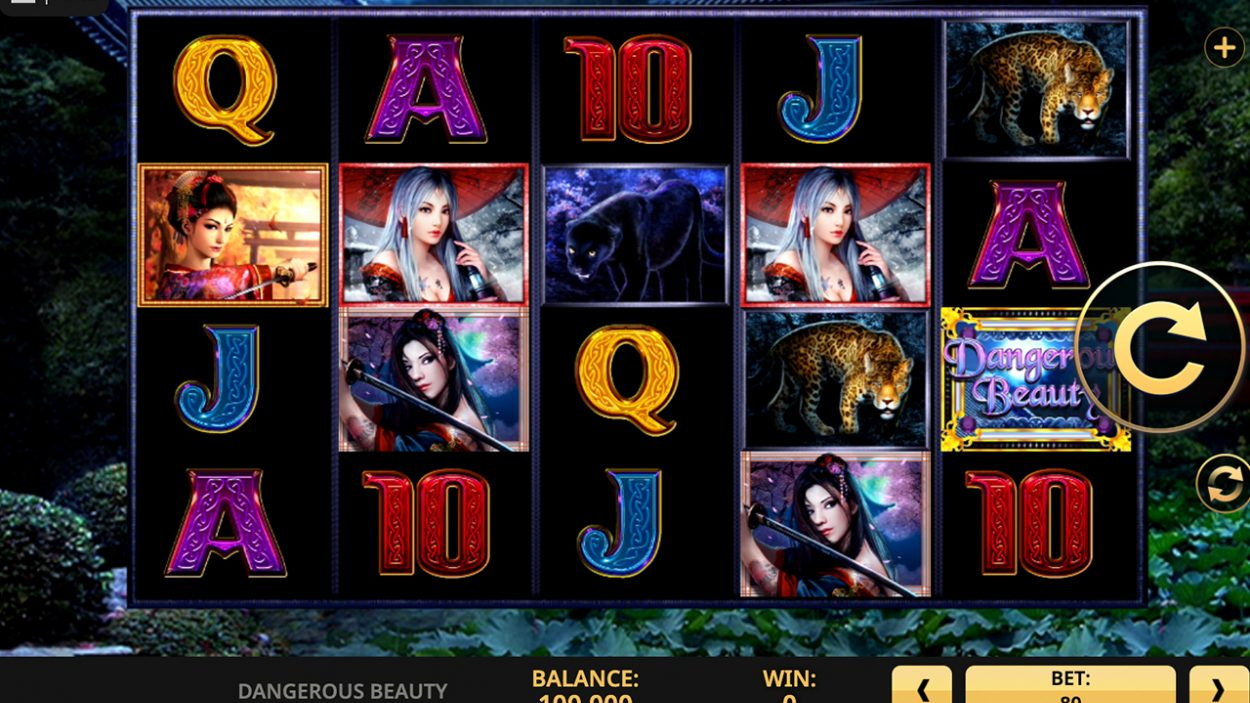 Title screen for Dangerous Beauty slot game