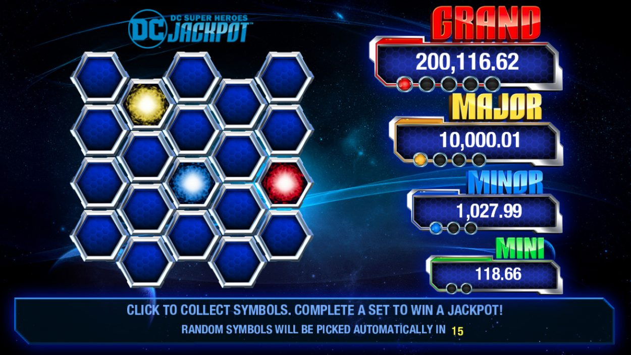 Title screen for DC Jackpot  Slots Game