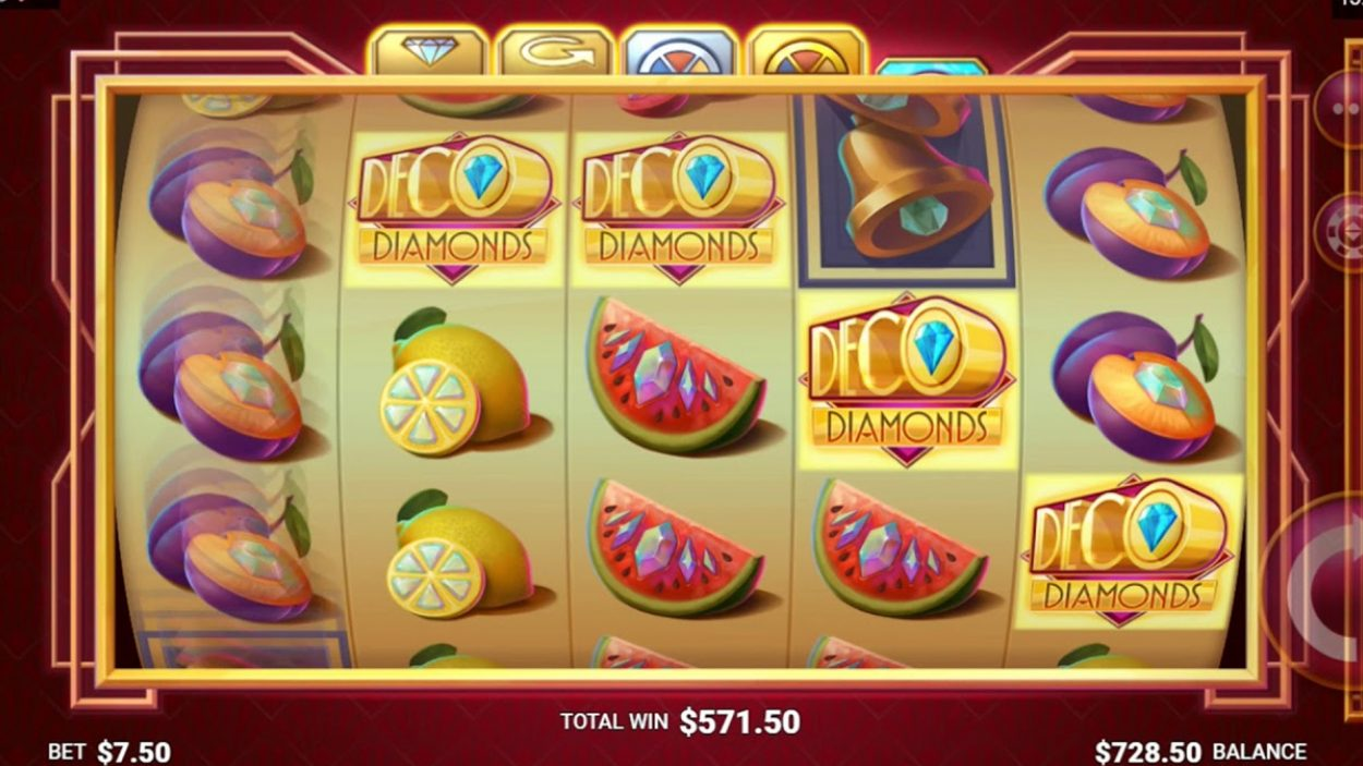 Title screen for Deco Diamonds Slots Game