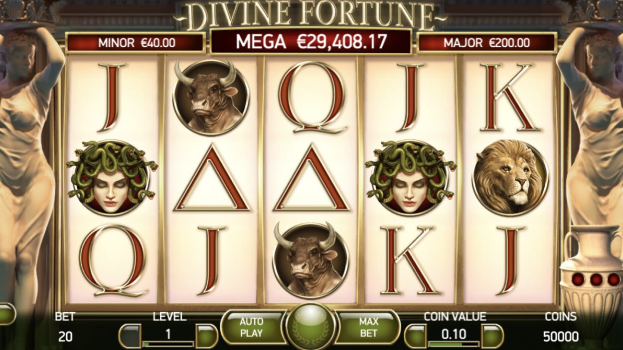 Title screen for Divine Fortune slot game