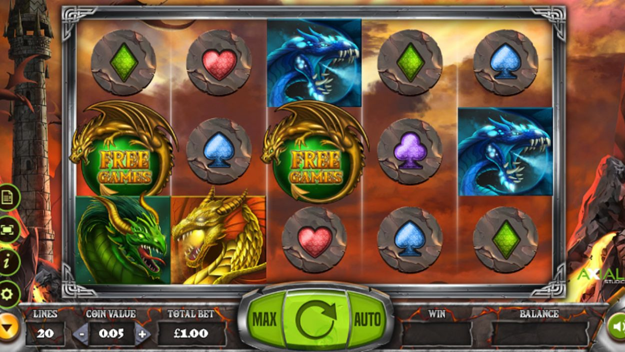 Title screen for Dragon slot game