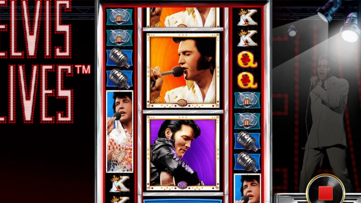 Title screen for Elvis Lives Slots Game
