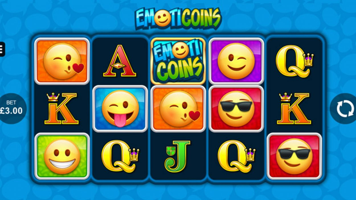 Title screen for Emoti Coins Slots Game