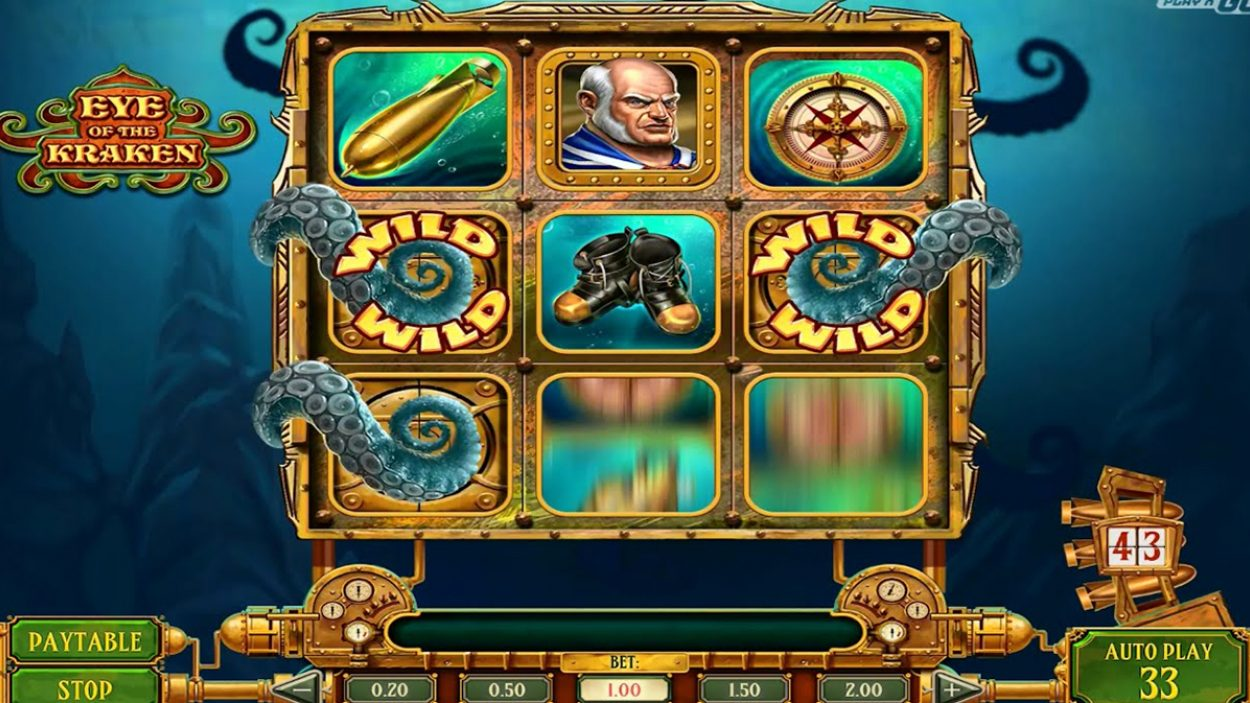 Title screen for Eye Of The Kraken Slots Game