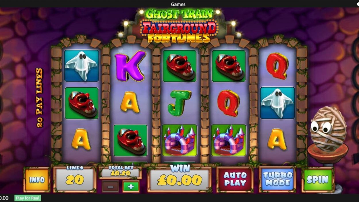 Title screen for Fairground Fortunes Ghost Train Slots Game
