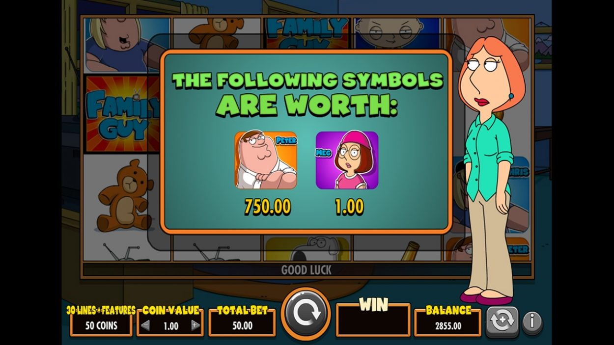 Title screen for Family Guy slot game
