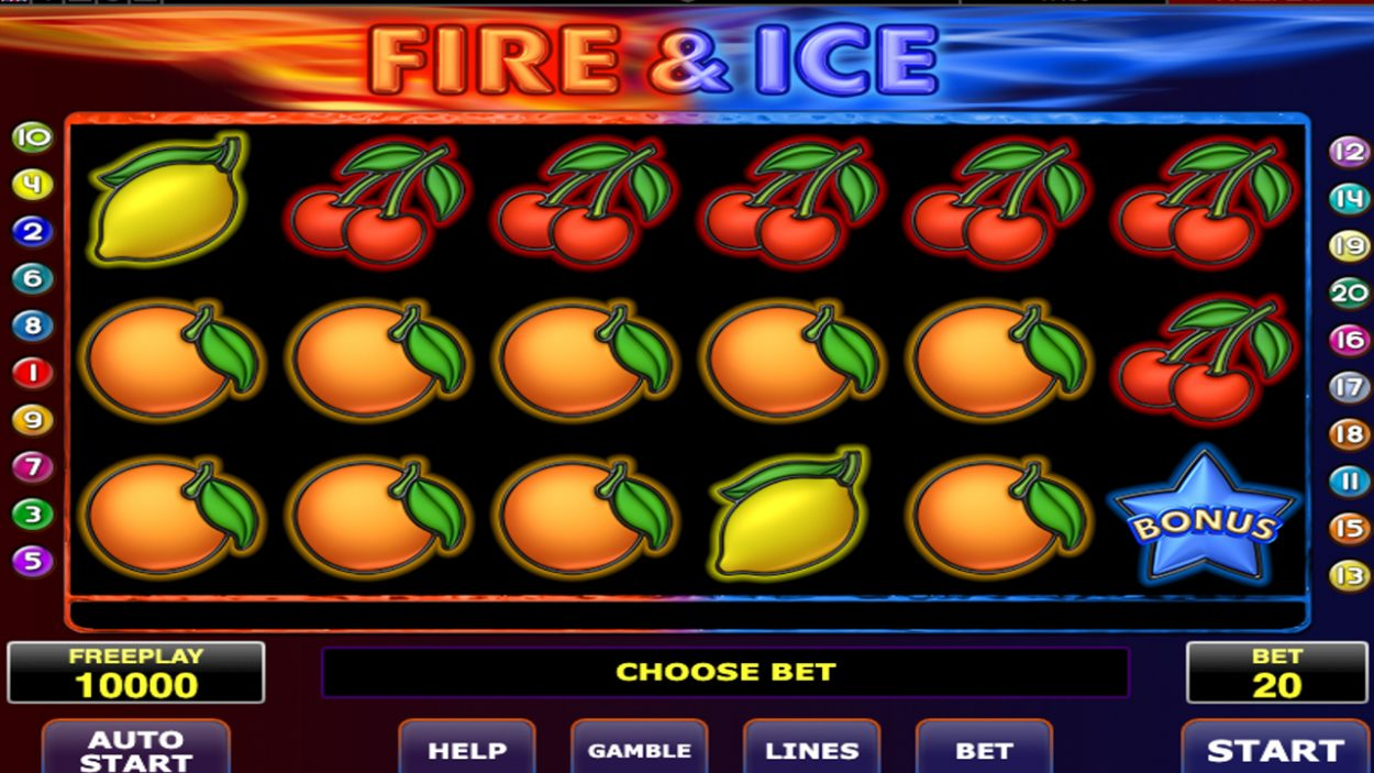Title screen for Fire and Ice slot game