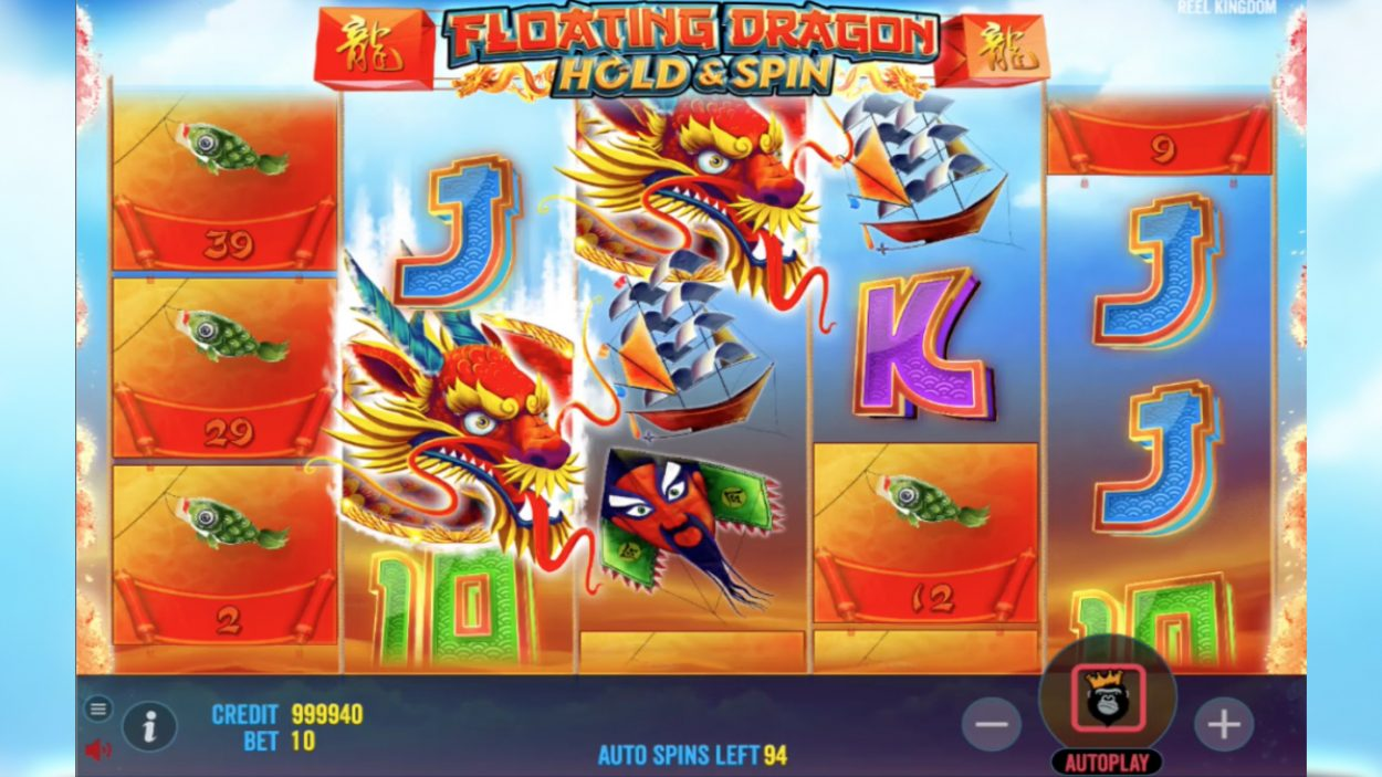 Title screen for Floating Dragon slot game